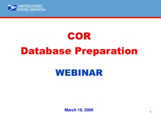 COR Database Preparation WEBINAR