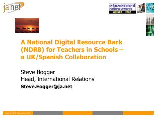 A National Digital Resource Bank (NDRB) for Teachers in Schools –  a UK/Spanish Collaboration