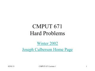 CMPUT 671 Hard Problems
