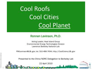 Cool Roofs 		  Cool Cities  Cool Planet