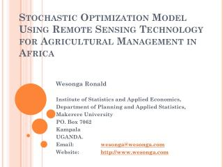 Wesonga Ronald Institute of Statistics and Applied Economics,