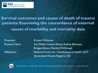 Presenter: Kirsten McKenzie Research Team:Sue Walker, Leanne Aitken, Andrea Besenyei,