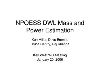 NPOESS DWL Mass and Power Estimation