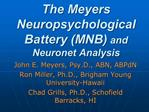 The Meyers Neuropsychological Battery MNB and Neuronet Analysis