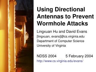 Using Directional Antennas to Prevent Wormhole Attacks