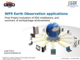 WP9 Earth Observation applications