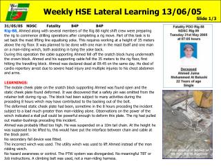 Weekly HSE Lateral Learning 13/06/05