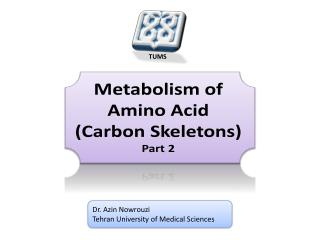 Metabolism of  Amino Acid (Carbon Skeletons) Part 2
