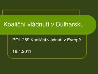 Koaliční vládnutí v Bulharsku
