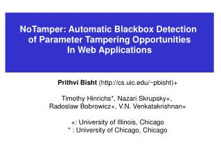 NoTamper: Automatic Blackbox Detection  of Parameter Tampering Opportunities In Web Applications