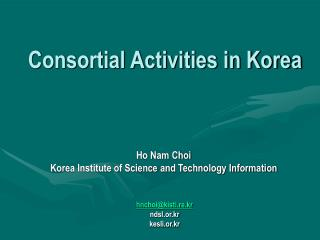 Consortial Activities in Korea