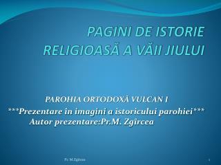PAGINI DE ISTORIE RELIGIOA SĂ A VĂII JIULUI