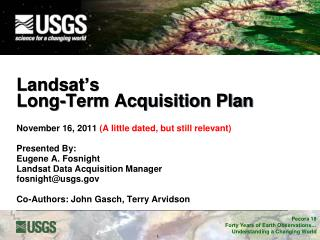 Landsat � s Long-Term Acquisition Plan