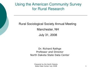 Using the American Community Survey for Rural Research
