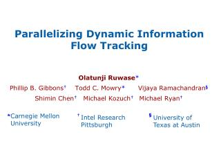 Parallelizing Dynamic Information Flow Tracking