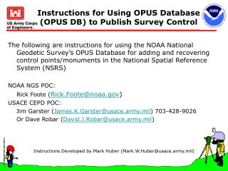 Instructions for Using OPUS Database (OPUS DB) to Publish Survey Control