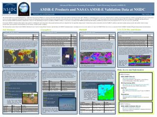 Advanced Microwave Scanning Radiometer - Earth Observing System (AMSR-E)