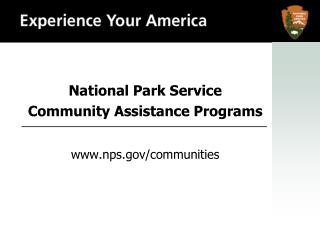 National Park Service Community Assistance Programs nps/communities