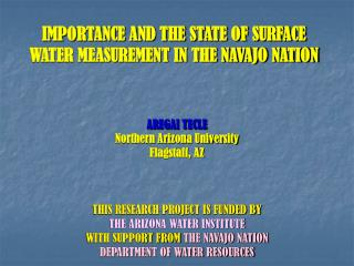 IMPORTANCE AND THE STATE OF SURFACE  WATER MEASUREMENT IN THE NAVAJO NATION