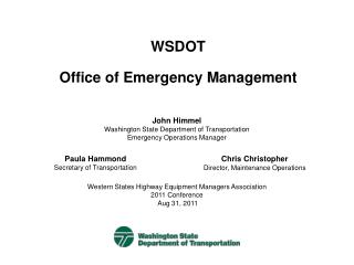 WSDOT Office of Emergency Management