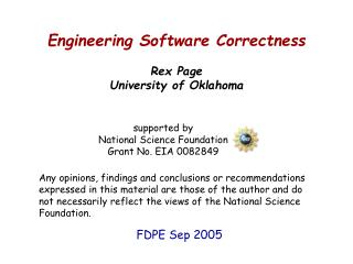 Engineering Software Correctness Rex Page University of Oklahoma