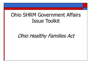Ohio SHRM Government Affairs Issue Toolkit
