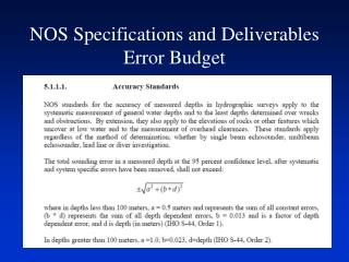 NOS Specifications and Deliverables Error Budget