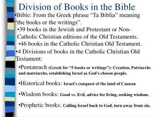 Division of Books in the Bible