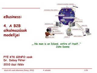 eBusiness:  4. A B2B  alkalmazások  modelljei PTE KTK GINFO szak  Dr. Dobay Péter 2010 őszi félév