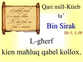 Qari  mill-Ktieb  ta� Bin  Sirak Sir  1, 1-10