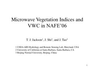 Microwave Vegetation Indices and VWC in NAFE�06