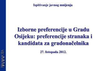 Izborne preferencije u Gradu Osijeku: preferencije stranaka i kandidata za gradonačelnika