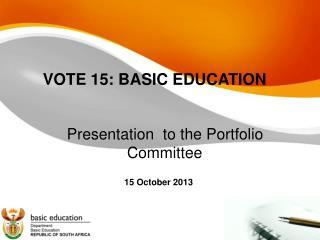 VOTE 15: BASIC EDUCATION