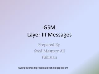 GSM Layer III Messages