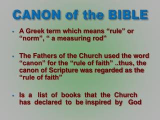 CANON of the BIBLE