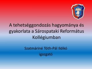 A tehets�ggondoz�s hagyom�nya �s gyakorlata a S�rospataki Reform�tus Koll�giumban