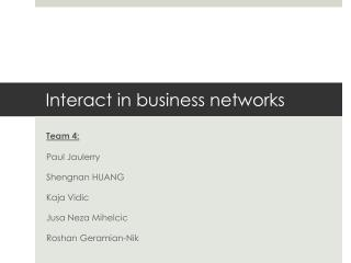 Interact in business networks