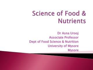 Science of Food & Nutrients