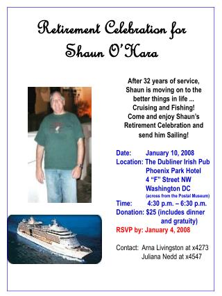 Retirement Celebration for  Shaun O�Hara