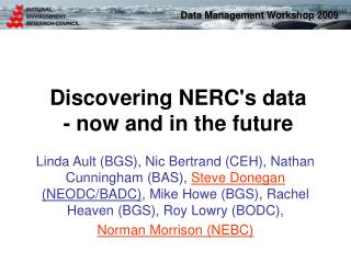 Discovering NERC's data - now and in the future