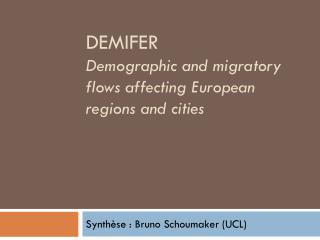 DemIFER Demographic  and  migratory flows affecting European regions  and  cities