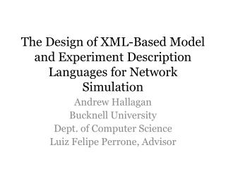The Design of XML-Based Model and Experiment Description Languages for Network Simulation