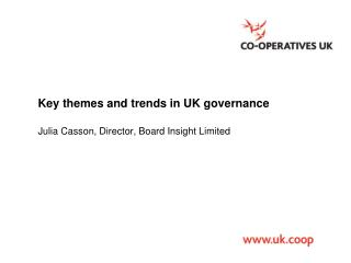 Key themes and trends in UK governance