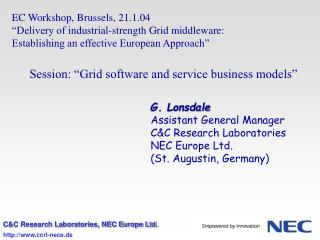 EC Workshop, Brussels, 21.1.04