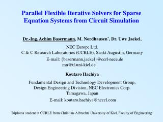 Parallel Flexible Iterative Solvers for Sparse Equation Systems from Circuit Simulation