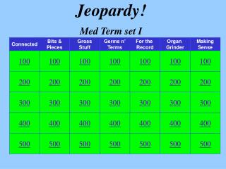 Jeopardy! Med Term set I