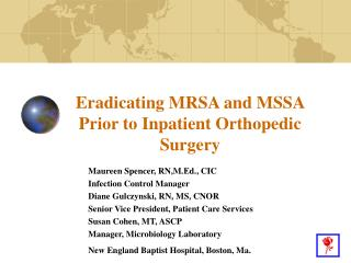 Eradicating MRSA and MSSA Prior to Inpatient Orthopedic Surgery