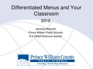Differentiated Menus and Your Classroom