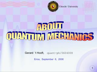 ABOUT QUANTUM  MECHANICS