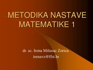 METODIKA NASTAVE  MATEMATIKE 1
